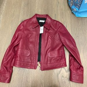 NWT coach cropped leather jacket size 12 berry
